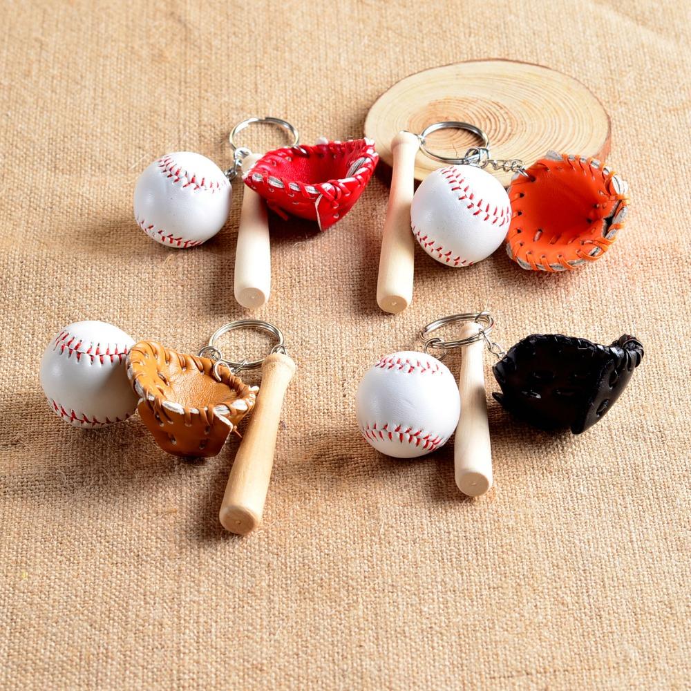 (50pcs/lot ) hot sale baseball keychain with glove /baseball /bat),mixed colors ,Free shipping(China (Mainland))