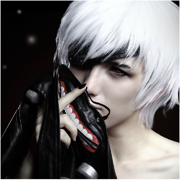 High quality Cheap price Japan Anime Tokyo Ghouls Ken Kaneki Cosplay Wig Synthetic Hair Party Halloween Wigs Free shipping(China (Mainland))