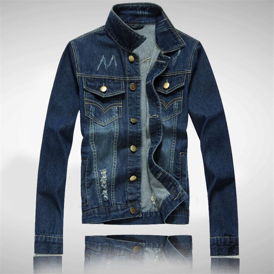 <font><b>New</b></font> Hot Sale Good Quality Men Jeans <font><b>Jackets</b></font> Turn-down Collar Hole Slim <font><b>Looking</b></font> Three Colors Single Breasted Solid Male Tops