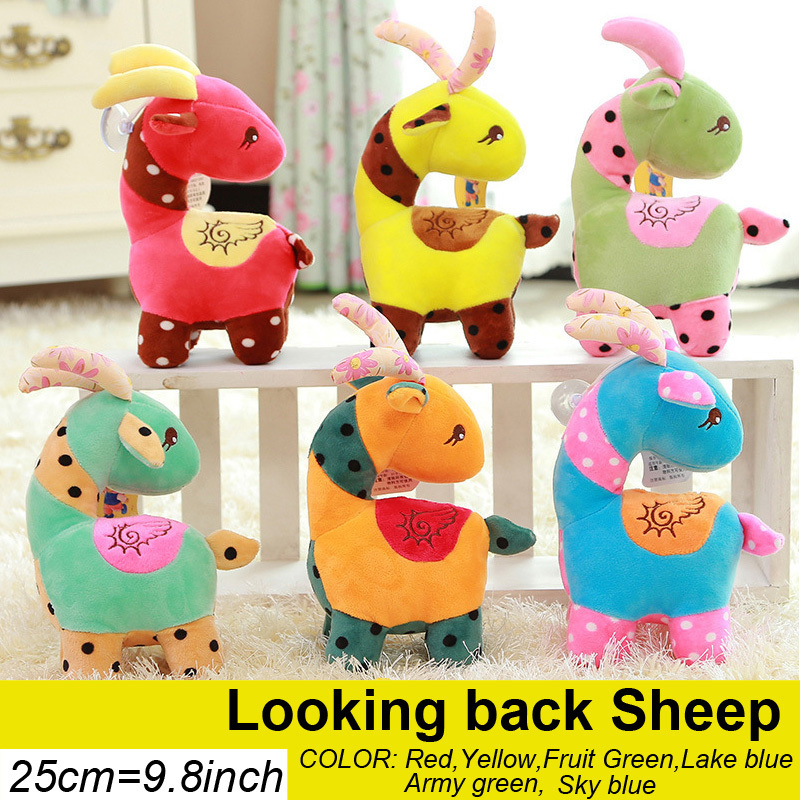 25CM 9.8'' Lovely Looking back sheep plush toy Cartoon Animal Baby Toy for Children Gifts Wedding Gifts plush dolls Wholesale(China (Mainland))