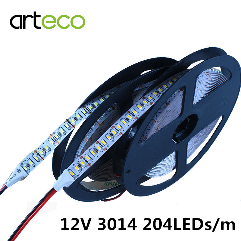 DC12V LED Strip 3014 204 leds/m 5m IP20 IP65 waterproof 3014 LED strip White , Warm white(China (Mainland))