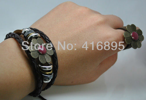 free shipping L3/6 Wholesale surfer Accessory Brown Leather Bracelet Jewelry Unisex Handmade 152(China (Mainland))