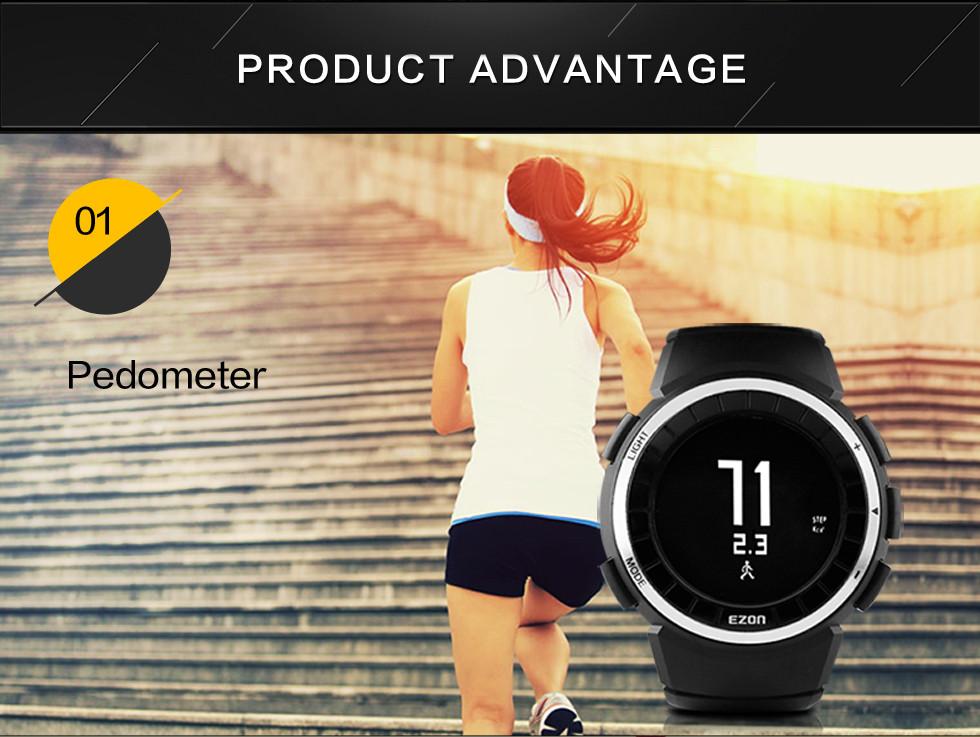 EZON расстояние шагомер спортивные часы многофункциональный электронные часы водонепроницаемые часы мужчины открытый запуск секундомер T029