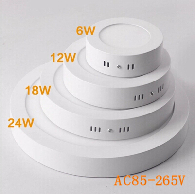 No Cut ceiling 6w 12w 18w 24w Surface mounted led downlight round panel light SMD Ultra thin ceiling Down lamp kitchen(China (Mainland))