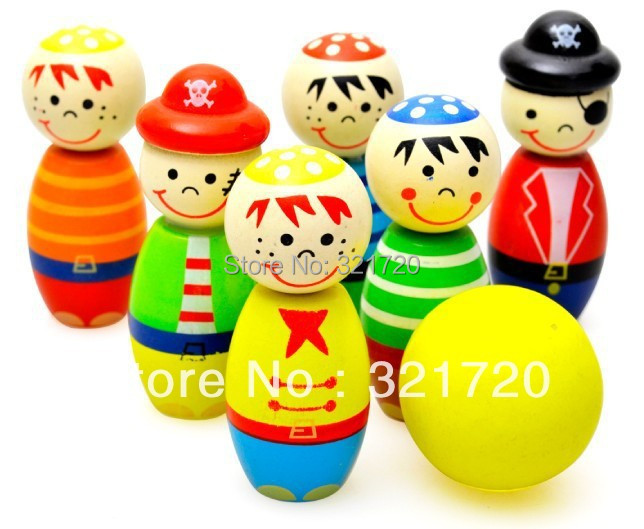 Little pirate bowling ball wooden toys Educational interactive wooden toys Children birthday gift Free shipping(China (Mainland))