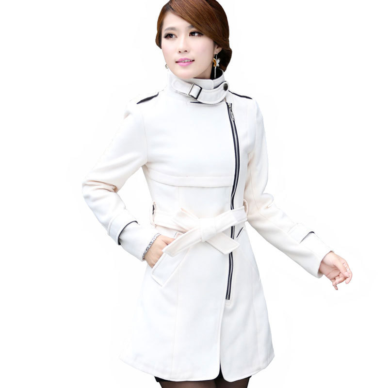 White Wool Coat Womens - Black Coat