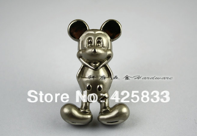 10pcs Silver Mickey Mouse Knobs Wardrobe Dresser Pulls and Modern Furniture Kitchen Cabinet Baby Cabinet Pulls Wholesale(China (Mainland))