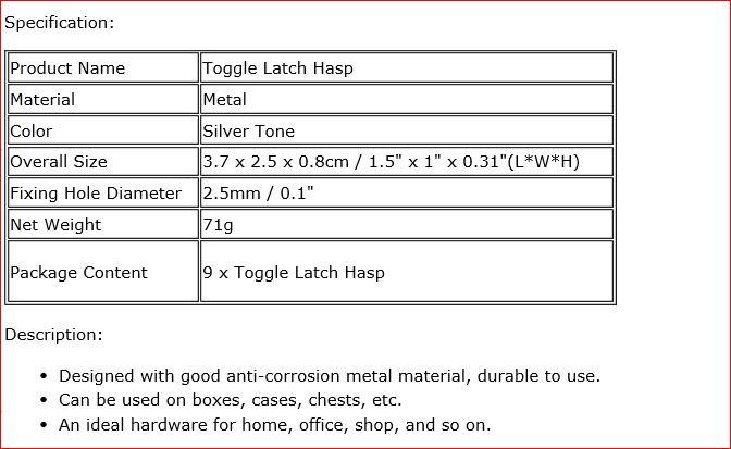 9pcs Drawer Closet Toolbox Hardware Silver Tone Toggle