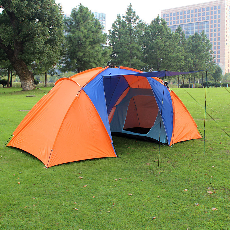 tourist tent double layer two bedroom camp 4 person large camping tent