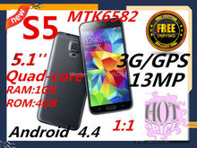 Listed on the new ,1:1 S5 5.1 in 3G GPS MTK6589 high - speed quad - core processing platform SIM Single Card Gift Free shipping(China (Mainland))