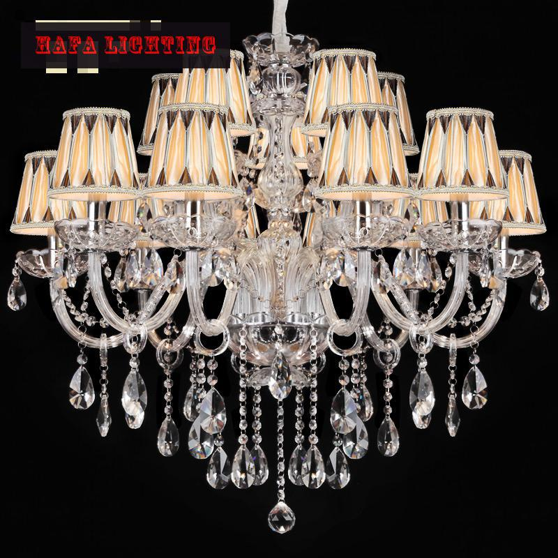 15 Arm Large Crystal Chandelier Lamp Lustre Home luxury clear transparent large chandelier with/without lampshade<br><br>Aliexpress