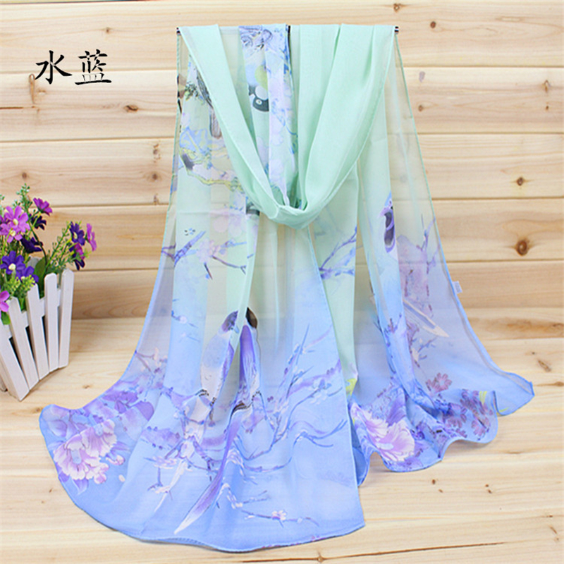 New 2015 Fashion Soft Thin Chiffon Silk Scarf Women Animal Bird printed Scarves Foulard Sjaal Cachecol Feminino