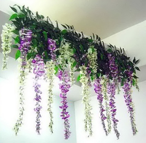 10pcs lot artificial silk wisteria hanging flowers plant for Artificial flower for wedding decoration