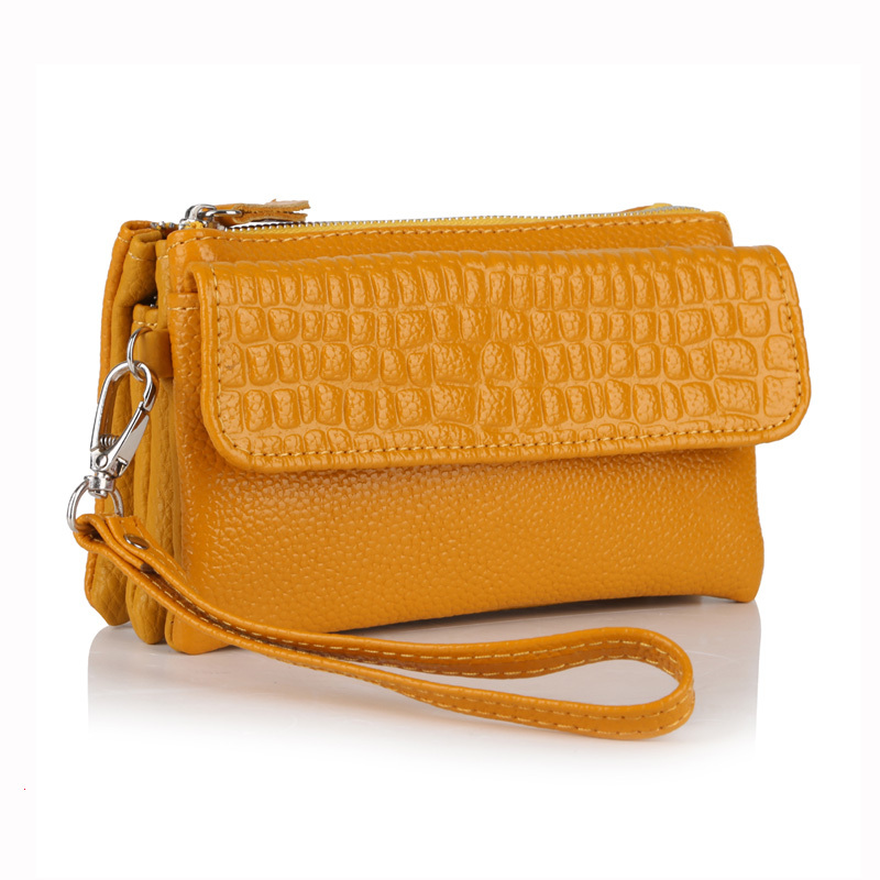 Wholesale 2016 Top Quality women genuine leather wristlet evening clutch female purse messenger bags handbag YB