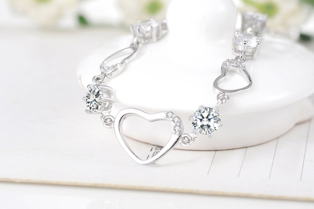 Starland 2016 Trendy 925 Sterling Silver Jewelry Charms Crystal Heart Love Bracelets For Women,Girl Friend Gift Free Shipping