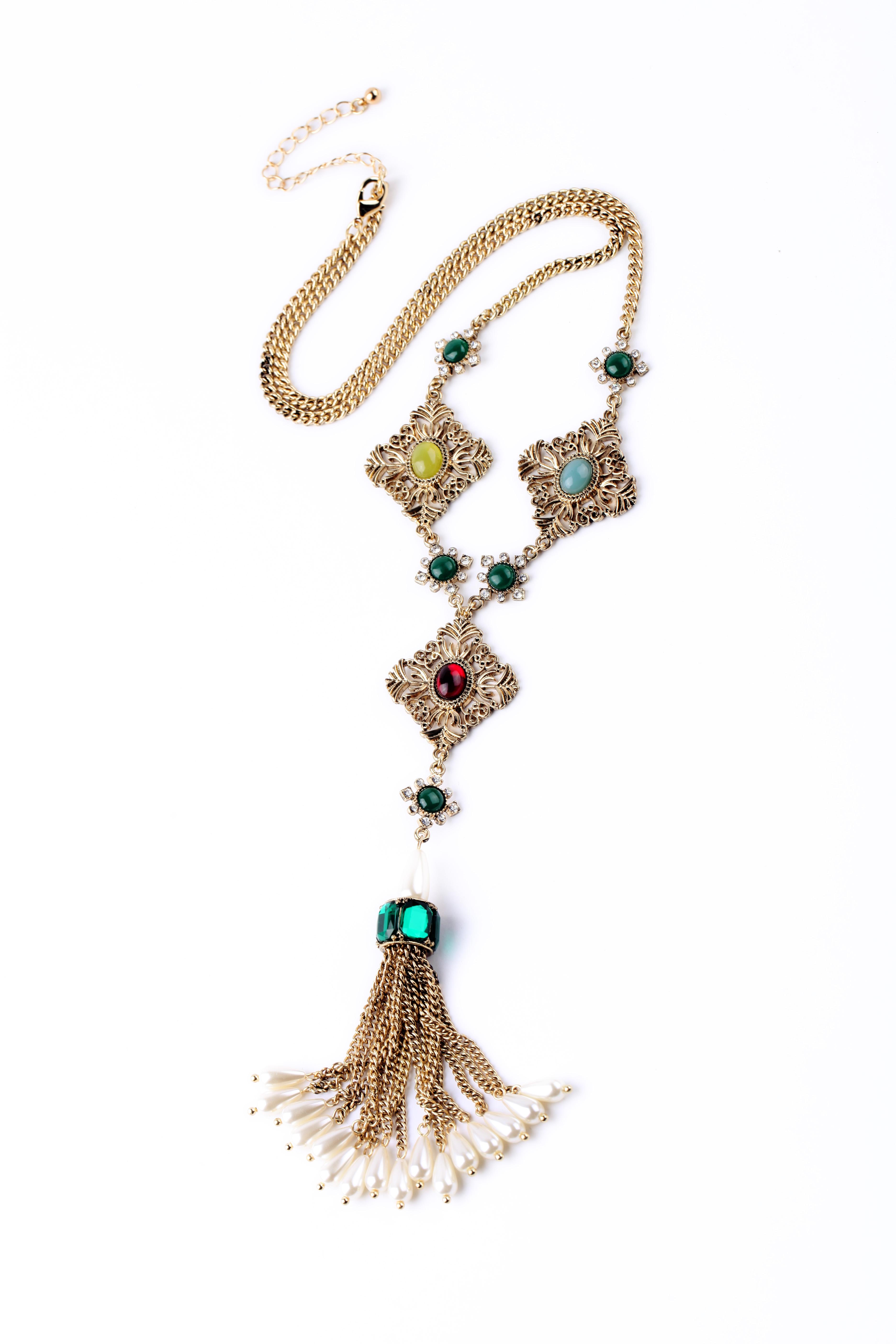 Woman Decoration Colorful Retro Luxury Imitation Pearl Long Tassel Jewelry Necklace Design Inspiration International Brand 2015(China (Mainland))