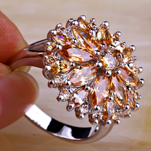 Wholesale Round Marquise Cut Morganite 925 Silver Ring Size 7 8 9 10 11 12 13