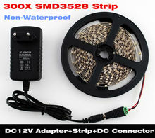 Free shipping 5m 300 LED 3528 White / Red / Blue / Green / Yellow non waterproof fleixble strips + 12V 2A 24W power adapter