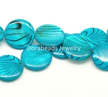 "DoreenBeads Free Shipping! Blue Zebra Print Round Shell Loose Beads 20mm, 40cm(15-3/4"") long, sold per lot of 1 strand (B17957)(China (Mainland))"