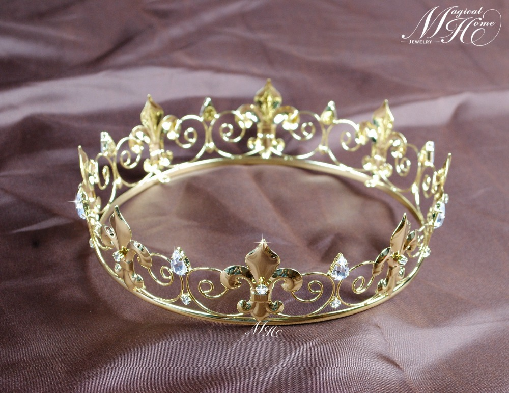 تيجان ملكية  امبراطورية فاخرة Imperial-Medieval-Golden-Crown-Round-Tiara-Clear-Rhinestones-Diadem-Wedding-Bridal-Pageant-Art-Deco-Party-Costumes