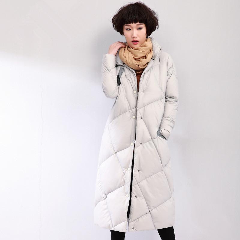 2016 женщины зима Новый тонкий утка вниз куртка воротник стойка Женская плюс Размер длинное пальто корейский моды куртки теплые ветровки JA173