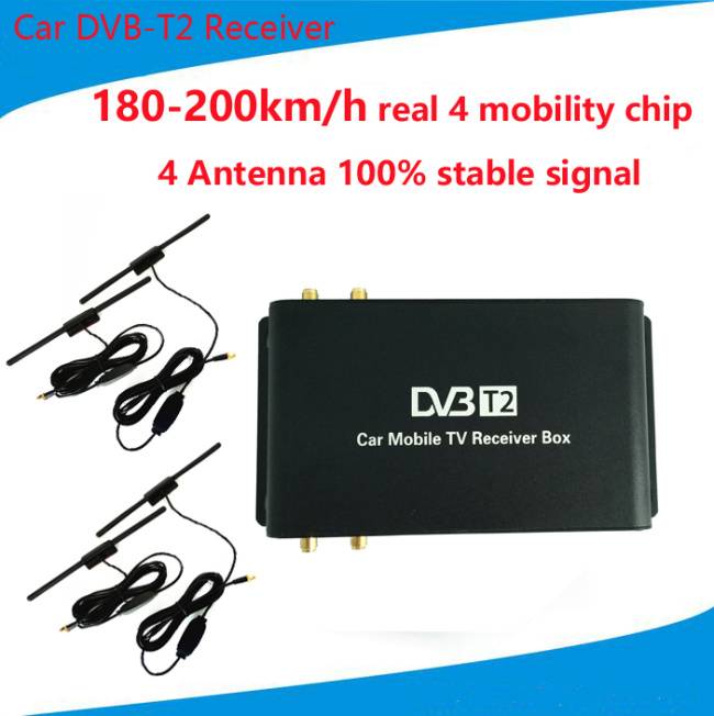 180-200km/h DVB-T2 Car 4 Antenna 4 Mobility Chip Tuner DVB T2 Car TV Receiver USB HDTV For Russia Thailand Singapore Colombia(China (Mainland))