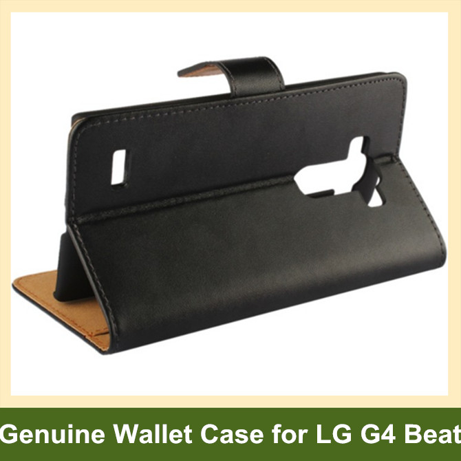 Genuine Leather Wallet Flip Cover Case for LG G4 Beat/G4s with Stand Holder 100pcs/lot Free Shipping