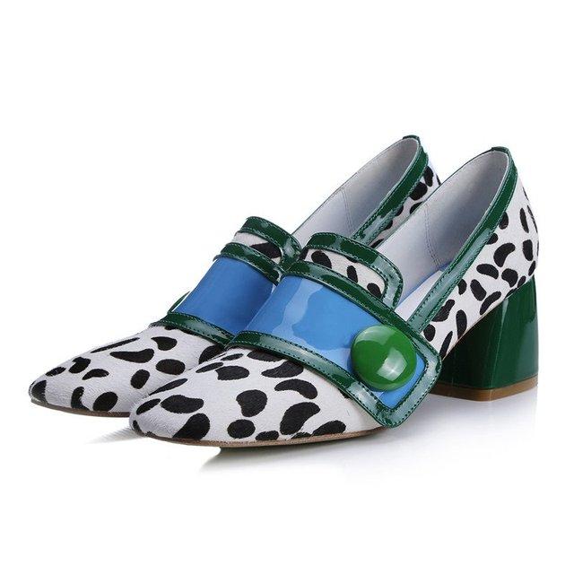 Новое поступление Площади Toe конский волос мода повседневная обувь женщина пряжки ...