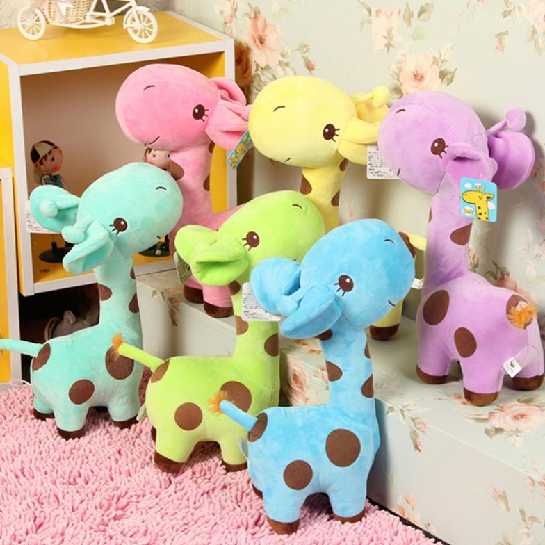1 X Colorful Cute Gift Plush Giraffe Soft Toy Animal Dear Doll Baby Kid Child Birthday Happy Gift(China (Mainland))