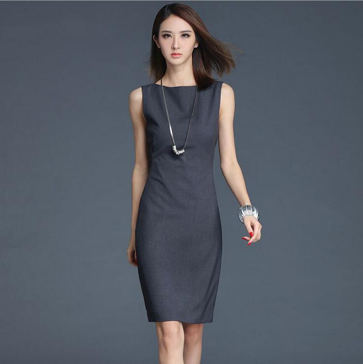 summer dark gray sleeveless a line ol office dresses women. Black Bedroom Furniture Sets. Home Design Ideas