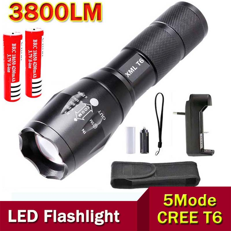XM-L T6 Powerful LED Flashlight 3800 Lumens Zoomable Torch light +2 * 4200mah 18650 Rechargeable Battery + charger + holster(China (Mainland))