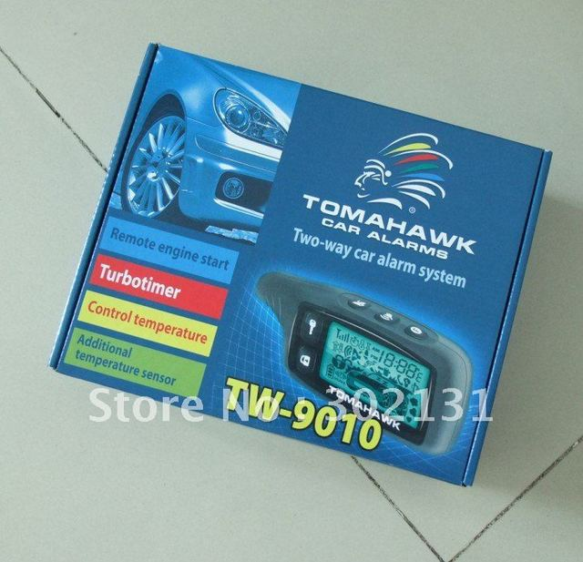 2013 Promotional Two way car alarm Tomahawk TW9010 with engine starter & remote, English manual & Russia manual