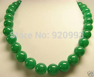 """WholesaleFast PP**Beautiful GREEN Jade 12mm Beads Necklace 18""""AAA+G+R+ET+Y (B0409)(China (Mainland))"""