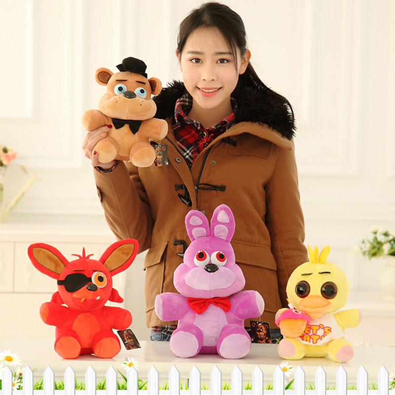 25cm Five Nights At Freddy Foxy Toys 4 FNAF Bonnie Foxy Freddy Fazbear Bear Plush Toys Doll Soft Stuffed Toy Unisex Kids Gift(China (Mainland))