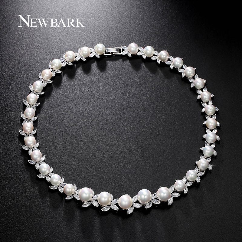 ZOEVON Brand Choker Necklaces Elegant Wedding Necklace Pearl With Marquise Clear Zircon Diamond Luxury Bridal Jewelry <br><br>Aliexpress