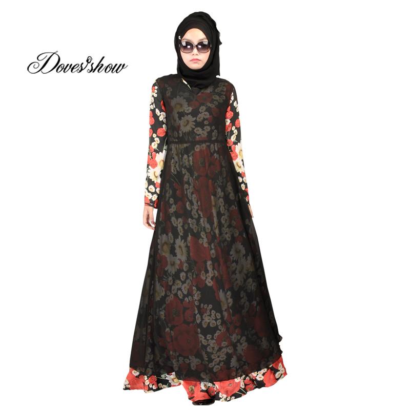 Fantastic Patchwork Muslim Dress Abaya In Dubai Islamic Clothing For Women