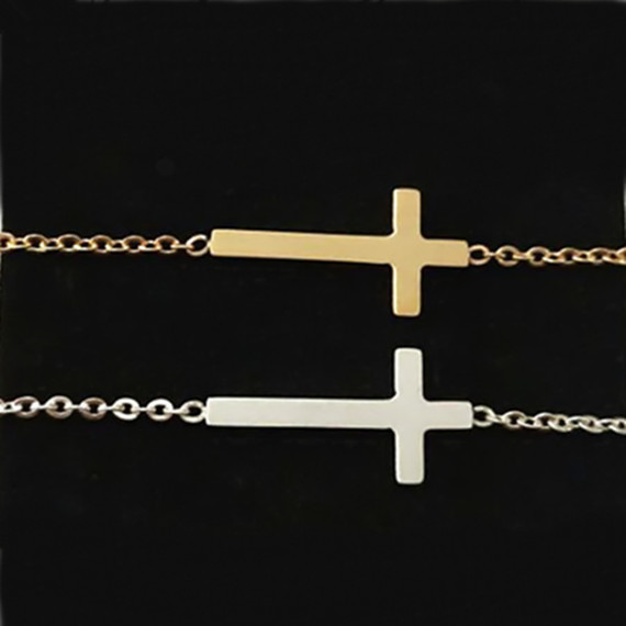 12016 Stainless Steel Jewelry Pulseiras Gold Filled Chain & Link Bracelet Simple Tiny Sideways Cross Charm B008 - Show store