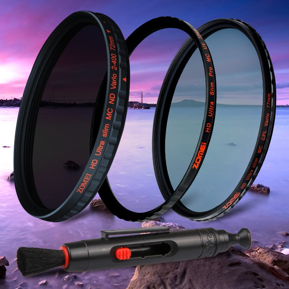 Genuine ZOMEI 58mm HD Pro Multi coated Slim CPL+MC UV+ND 2-400 Filter Shott glass<br><br>Aliexpress