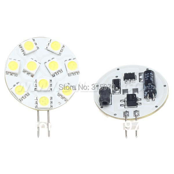 Free Shipping 10pcs/lot G4 led light 10LED SMD 5050 12VDC 220LM marine light 2W White Round Board For Car Camper Marine Bulb(Hong Kong)
