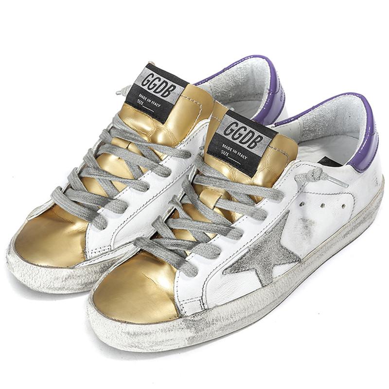 Original Golden Goose White Gold Casual Shoes Women Restore Ancient Ways GGDB Men Genuine Leather Shoes Scarpe Uomo Donna hogan scarpe uomo