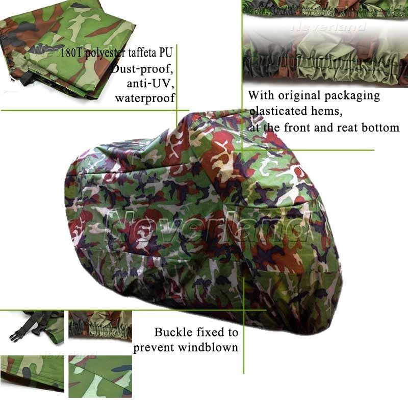 245*105*125cm XL Motorcycle Covering Waterproof Dustproof Scooter Cover UV resistant Heavy Racing Bike Cover Camouflage C10(China (Mainland))