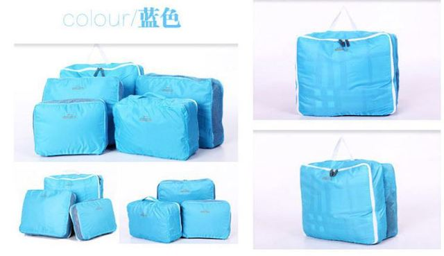 Free shipping hot saleFree Quality Fashion 5 Piece Cloth Storage Bags 3 Colors Organizer Set Bags in Bag for Traveling