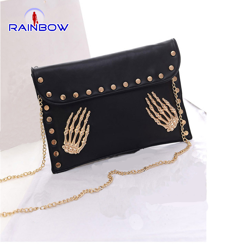 2015 Fashion Women Envelope Bags Skeleton Hand Rivet Chain Bags Punk Handbags Personality Skull Clutches PU Messenger Bag(China (Mainland))