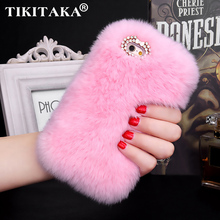 Buy Fashion Fluffy Warm Soft Wool Rabbit Fur Skin Case iPhone 5 5S 6 6S 6 Plus 6S Plus Hair fur Plush Bling Diamond Bow Cases for $4.67 in AliExpress store