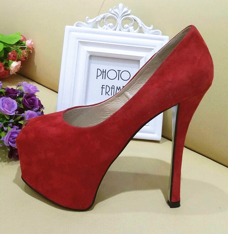 2016 waterproof 15cm high heel Red leather wedding &amp;night club  deep toe  sexy shoes<br><br>Aliexpress