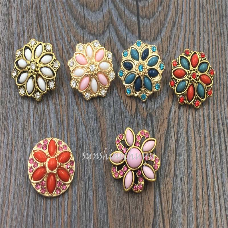 New 120pcs/lot Resin flower shaped 6 colors 18mm snap button fit ginger snap leather bracelet for jewelry free shipping<br><br>Aliexpress