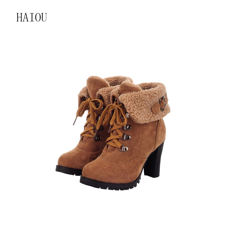 Sheepskin Women Leather Boots Ankle On Sale Ladies Womens Winter Work Boots Suede Size 33 43 ...
