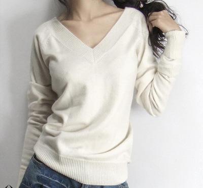Женщины's Cashmere Шерсть свитер Female Basic Shirt Цвет Block Slit Вырез