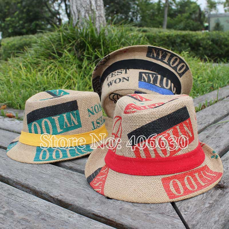 Summer Linen Kids Fedora Hats For Children Boys Sun Hats Toddler Top Jazz Hats Chapeu Trilby Caps Free Shipping GPXS-005(China (Mainland))