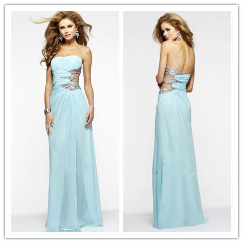 2014 New Long Rhinestone Chiffon Prom Dresses A-Line Ruched Strapless Neck Side Cut Slit Graduation Dress Light Sky Blue
